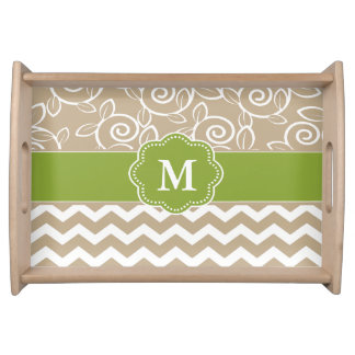 Beige Green Personalized Tray