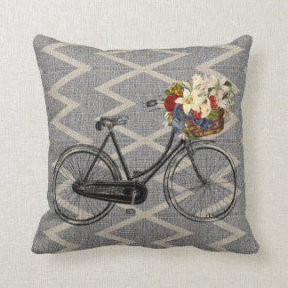 Beige  grey Chevron bicycle flower 🌸  pillow
