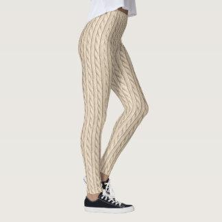 Beige Knitting Texture Leggings