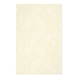 Beige lace personalized stationery