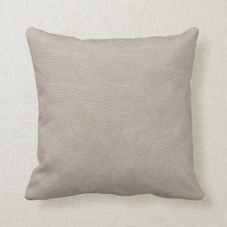 Beige Leather Print Texture Pattern Throw Pillow