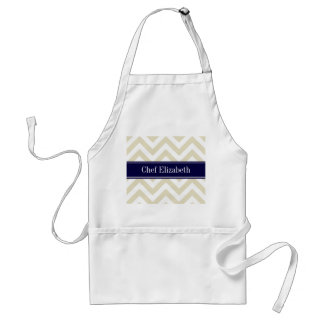 Beige Lg Chevron Navy Blue Name Monogram Standard Apron