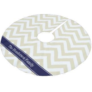 Beige Lg Chevron Navy Blue Name Monogram Brushed Polyester Tree Skirt