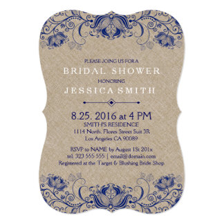 Beige Linen And Navy Blue Lace Card