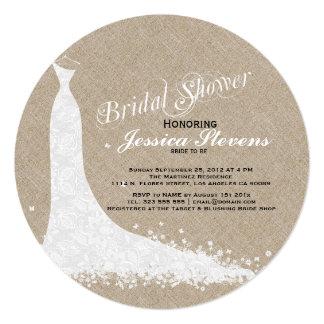 Beige Linen And White Lace Wedding Dress 13 Cm X 13 Cm Square Invitation Card
