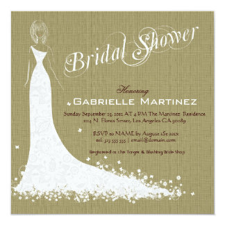 Beige Linen Burlap & White Wedding Dress Invite
