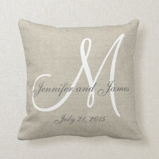 Beige Linen Gray White Monogram Wedding Keepsake Cushion