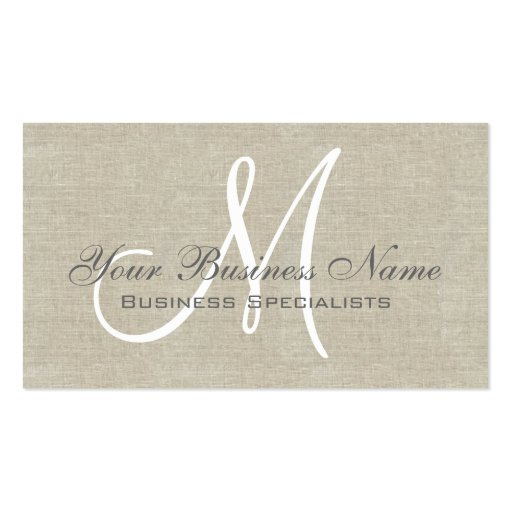 Beige Linen Grey Simple Plain Monogram Business Cards