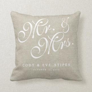 Beige Linen Initials Mr. and Mrs. Wedding Pillow Cushions