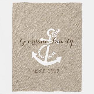 Beige Linen With Rustic White Wedding Anchor 2 Fleece Blanket