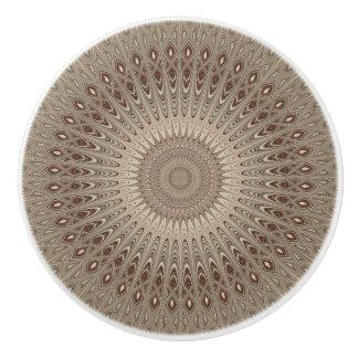 Beige mandala ceramic knob