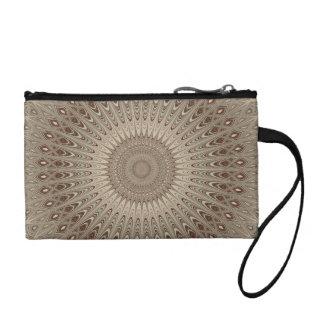 Beige mandala coin purse