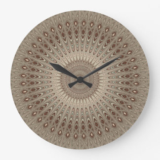 Beige mandala large clock