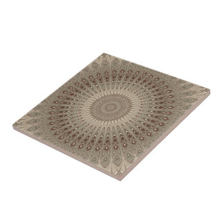 Beige mandala small square tile