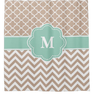 Beige Mint Chevron Monogram Shower Curtain