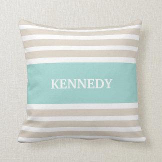 Beige Mint Green Stripes Monogram Cushion