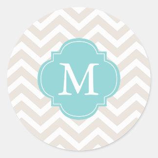 Beige & Mint Zigzags Pattern Monogram Round Sticker