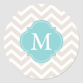 Beige & Mint Zigzags Pattern Monogram Round Stickers