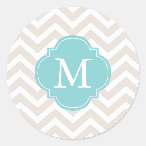 Beige & Mint Zigzags Pattern Monogram Round Stickers