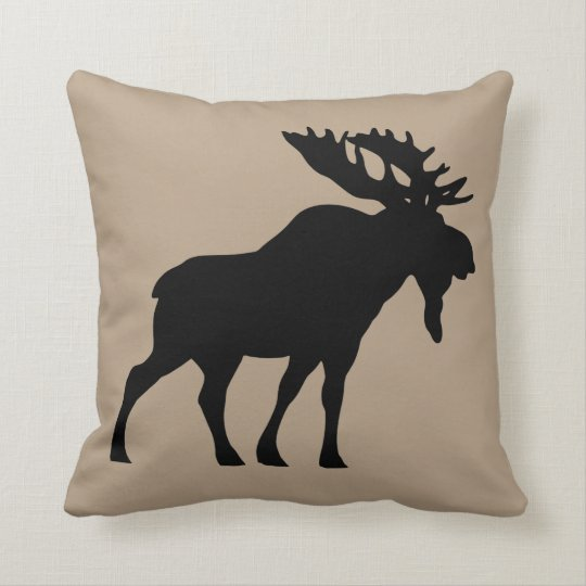 Beige Moose Throw pillow