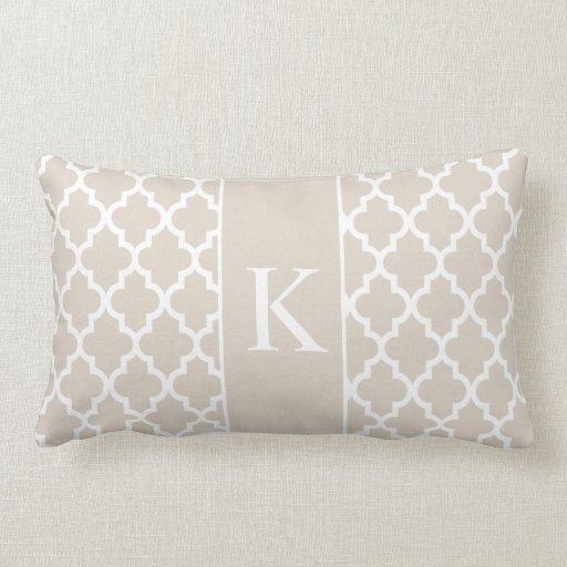 Beige Moroccan Custom Monogram Throw Pillows