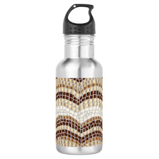 Beige Mosaic 18 Oz Water Bottle