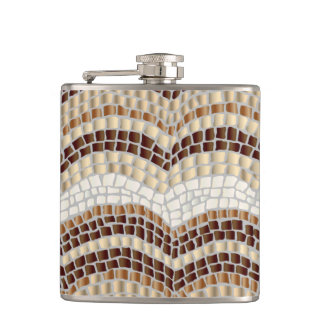 Beige Mosaic 6 oz Vinyl Wrapped Flask