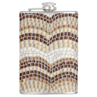 Beige  Mosaic 8 oz Vinyl Wrapped Flask