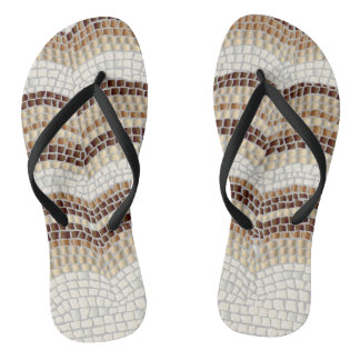 Beige Mosaic Adult Slim Straps Flip Flops