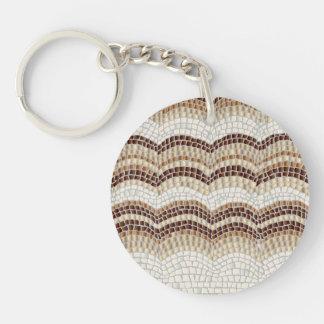 Beige Mosaic Circle Single-Sided Keychain