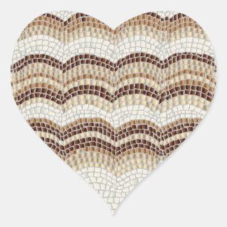 Beige Mosaic Glossy Heart Sticker