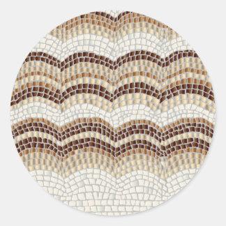 Beige Mosaic Large Matte Round Sticker