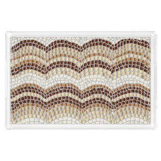 Beige Mosaic Large Rectangle Serving Tray
