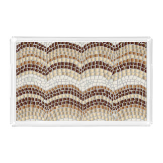 Beige Mosaic Medium Rectangle Serving Tray