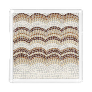 Beige Mosaic Medium Square Serving Tray