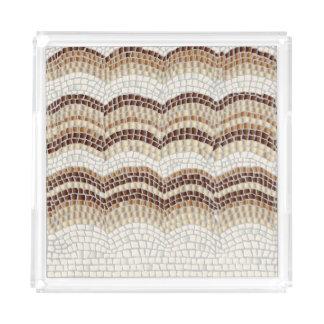 Beige Mosaic Medium Square Serving Tray
