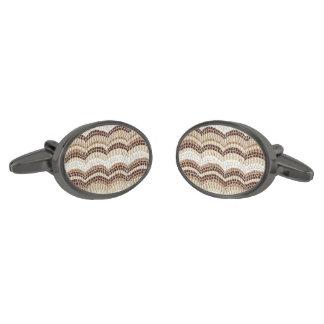 Beige Mosaic Oval Cufflinks Gunmetal Finish Cufflinks