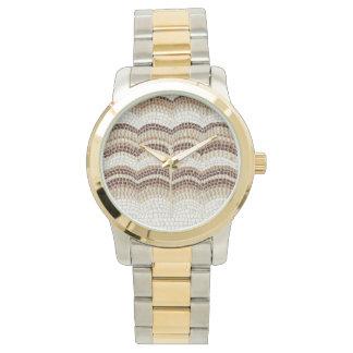 Beige Mosaic Oversized Two-Tone Bracelet Watch