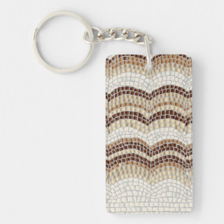 Beige Mosaic Rectangle Double-Sided Keychain