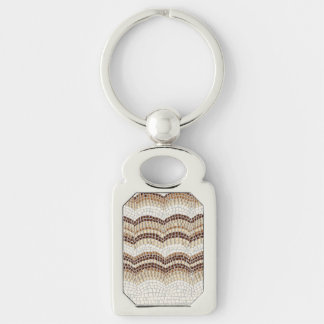 Beige Mosaic Rectangle Metal Keychain Silver-Colored Rectangle Key Ring