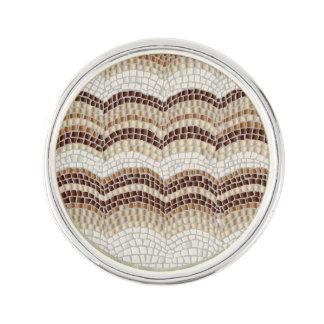 Beige Mosaic Round Lapel Pin