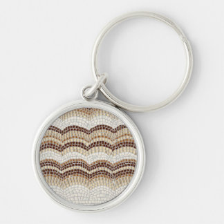 Beige Mosaic Small Premium Round Keychain