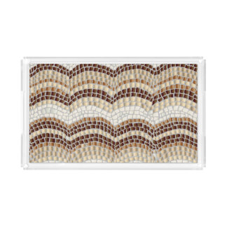 Beige Mosaic Small Rectangle Serving Tray