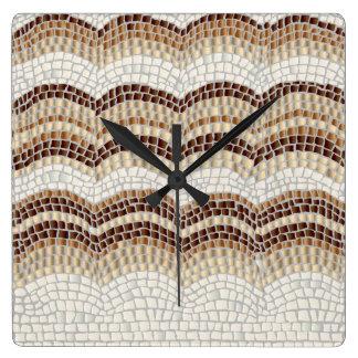 Beige Mosaic Square Wall Clock