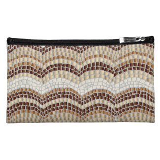 Beige Mosaic Sueded Medium Cosmetic Bag
