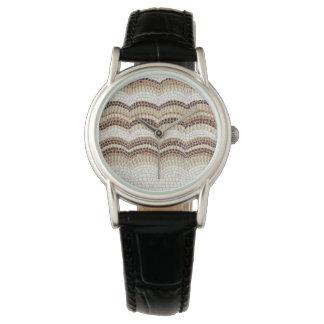 Beige Mosaic Women's Classic Black Leather Watch