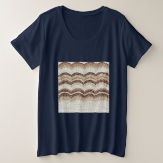 Beige Mosaic Women's Plus Size T-Shirt