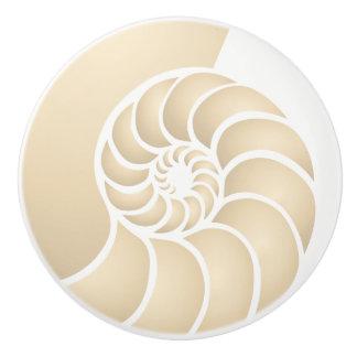 Beige Nautilus Coastal Style Ceramic Knob