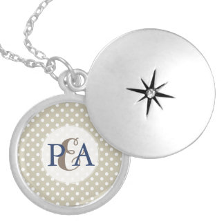 Beige Neutral Polka Dots Retro Couple Monogram Locket Necklace