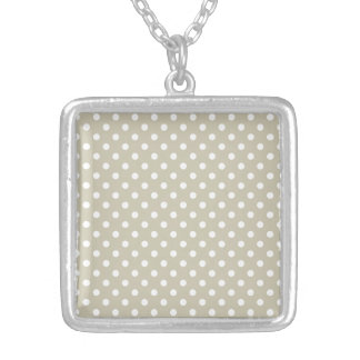 Beige Neutral Polka Dots Retro Vintage Preppy Silver Plated Necklace
